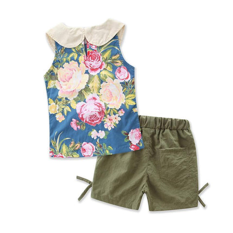 Sleeveless Summer Style Girls T-Shirt + Shorts