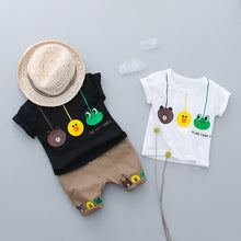 Three Frogs Baby Boy Clothes Summer 2018 Sets T- Shirt+Pants 2 Pcs Casual