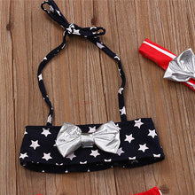 Baby Girls Flag Print Bow Bikini Set Tops Bottoms Headband 3PCS Set