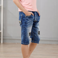 high quality denim patchwork shorts jeans 4-9 years
