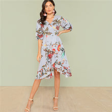 2018 Summer V Neck Short Bishop Sleeve Dress