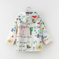 Cartoon House Pattern Print Hooded + Button Jacket