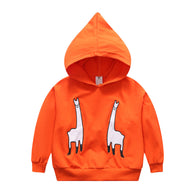 Cartoon Alpaca Printing Cotton Hooded Jacket For Kids