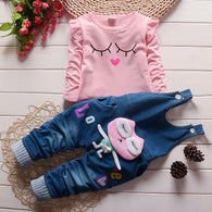 Character T-shirt & Denim Overall Suit