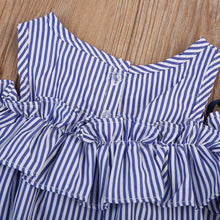 Blue Striped Off-shoulder ruffles Party Gown Formal Dress