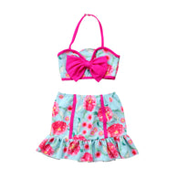 Print Floral Swimwear Skirts Bikini Set
