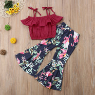 Off Shoulder Crops Ruffled Straped Solid T-Shirts + Flamingo Flare Pants