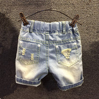 new casual color ripped holes denim shorts pants