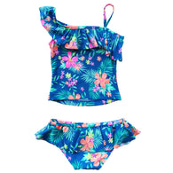 Blue Flower Print Bikini Swimsuit