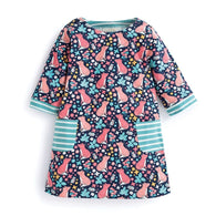Animals Clothing Printed Cotton Girl Dress