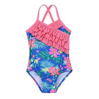 One-piece Floral Printed Ruffles Swimsuit