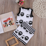 Vest Sleeveless Tops T-Shirt + Striped Shorts