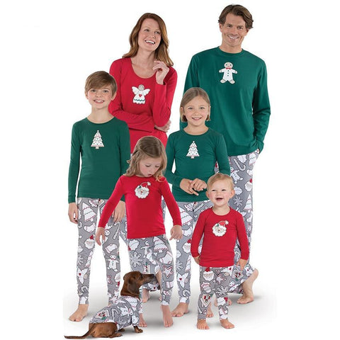 Family Fitted Long Sleeve Santa Claus Print + Pants Christmas Suit