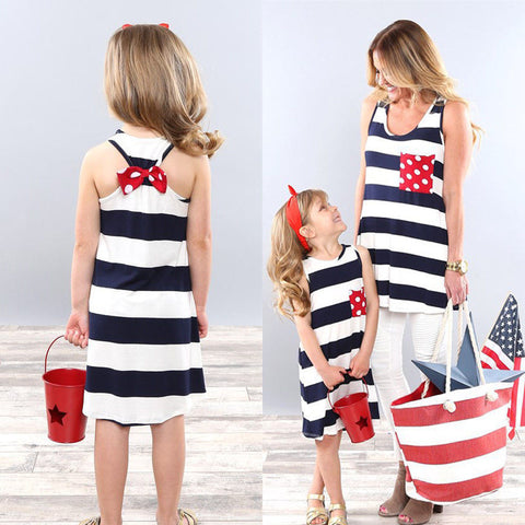 Stripe Stitching Sleeveless Mini Dress Family Matching