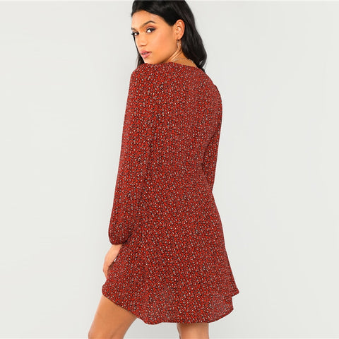 Rust Leopard Print Plung Neck Wrap Dress