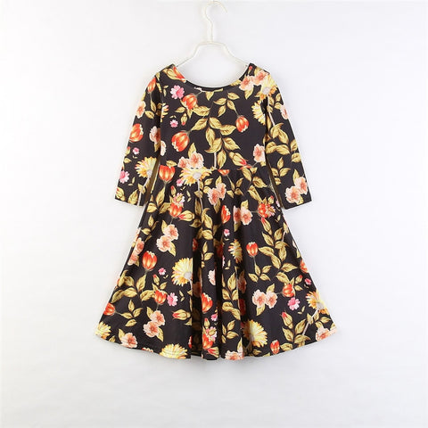 Long Sleeve O-Neck Cotton Flowers Print Dress