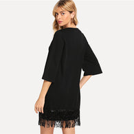 Black Elegant Office Lady Sequin Detail Tunic 3/4 Sleeve Solid Dress