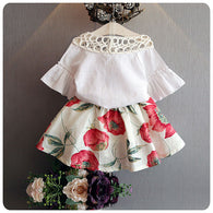 Flare Sleeve Corsage blouse shirt + floral Skirts