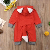 Fox Cotton Long Sleeve Hooded Romper