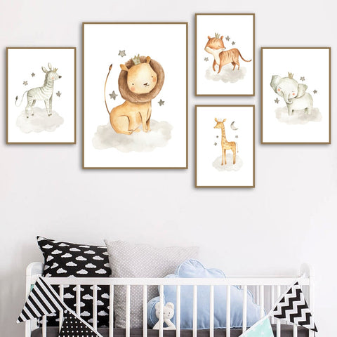 Cartoon Lion Elephant Tiger Giraffe Wall Art Canvas Painting Nordic Posters And Prints Animal Wall Pictures Baby Kids Room Decor