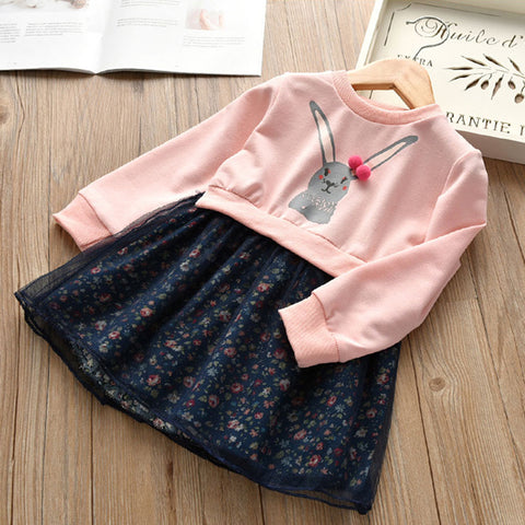 Cartoon Rabbit Cute Sweater Mesh Ball Gown Floral Stitching