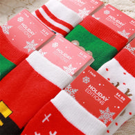 Cartoon Jacquard Socks Red Christmas