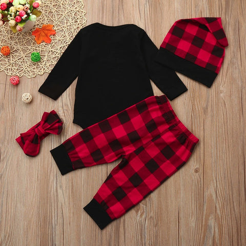 Letter Printing Cotton Tops + Plaid Pants