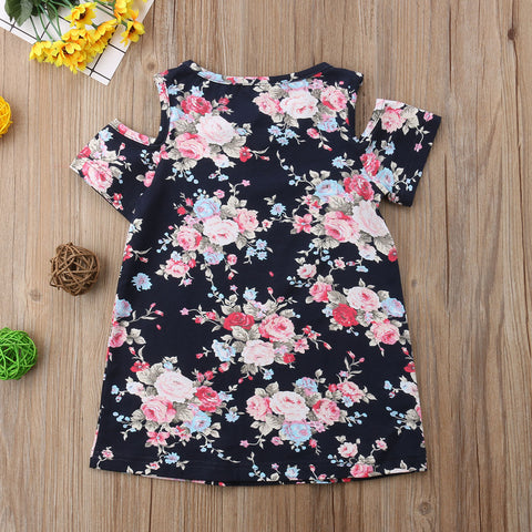 Off Shoulder Floral Print Knee-Length A-Line Dress
