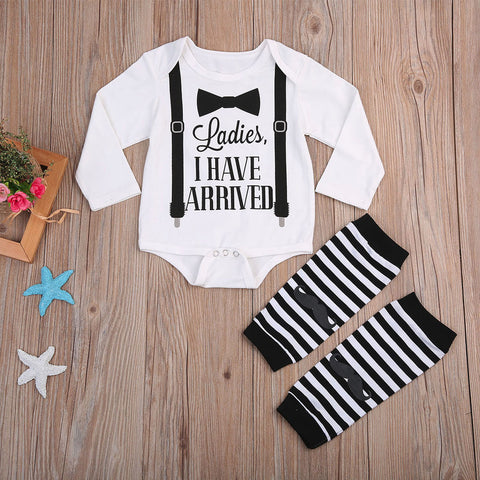 Letter Beard Print Stripe Long Sleeve Socks Jumpsuit Romper
