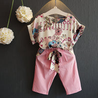 Set Pink Casual Floral T shirts Belt Pants