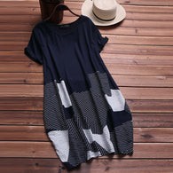 O Neck Short Sleeve Baggy Kaftan Sundress