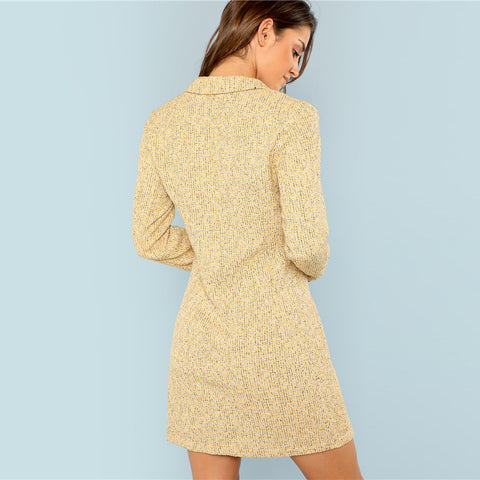 Yellow Notch Collar Double Breasted Tweed Dress