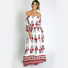 Boho Style Summer Long Off Shoulder Dress