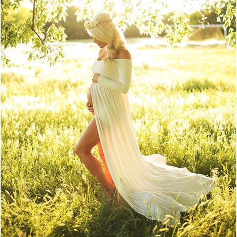 Chiffon Gown Sexy Maternity Women Long Dress