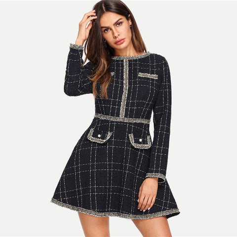 Navy Plaid Fringe And Pearl Embellished Tweed Dress