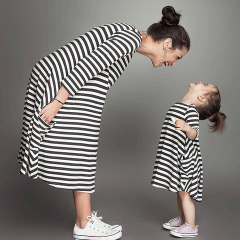 Mother And Daughter Clothes Striped Dress
