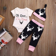 Clothing Set Oh Deer I'm Here Printed Romper
