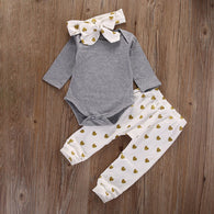 Clothes Sets 3pcs Suits Top + Pants + Headband