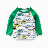 Long Sleeve Cotton T-Shirts Cars Printed Fashion 2019