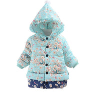 Winter Cotton Coat Hooded Floral Print