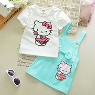 Cartoon Cat Lovely Princess Kids Outfit Set