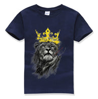 king of lion printing funny cute children t-shirts