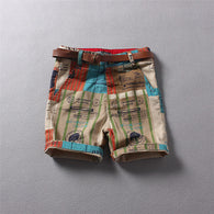 Shorts European and American Style Print + belt