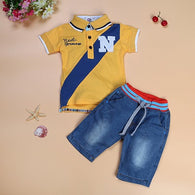 Pure cotton Blue or yellow short-sleeved letter T-shirt + Jeans