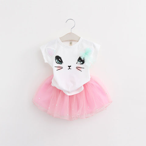 Cartoon Kitten Printed T-Shirts + MINI Net Veil Dress 2Pcs