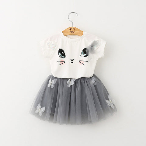 Cartoon Kitten Printed T-Shirts + Net Veil Dress 2Pcs