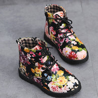 Floral Soft Martin Boots Lace up Baby Toddler Shoes