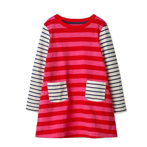 2018 Stripe Long Sleeve Kids Frocks Dress For Girl