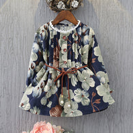 Flower Corduroy Long Shirt Dress
