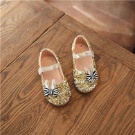 Flats Dancing Party Dress Shoes With Rhinestone Rabbit Ears